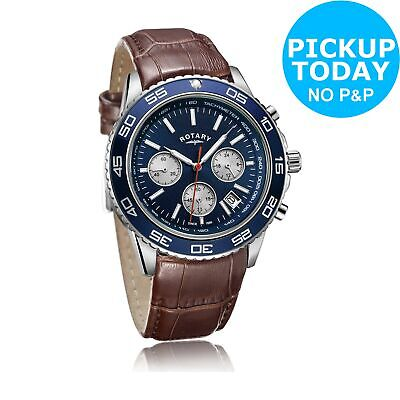 Rotary Men's Brown Leather Strap Chronograph Watch.