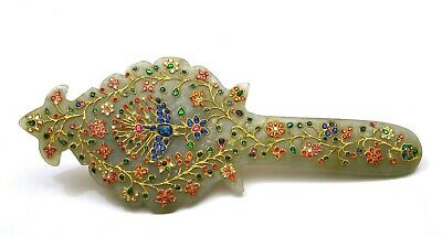 1940's Chinese India Indian Mughal Styl Rock Crystal Carved Carving Inlay Mirror