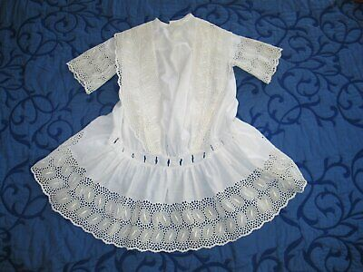 Antique Edwardian Girls Lace Dress circa 1900s Drop Waist-Baptismal Flower  Girl 119c86805