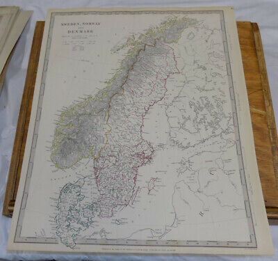 1841 Antique COLOR SDUK Map///SWEDEN, NORWAY AND DENMARK