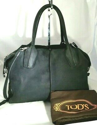 66e9351c57 Tods D Styling Bag Bauletto Black Nubuck Leather Medium Satchel Hand Bag  Auth