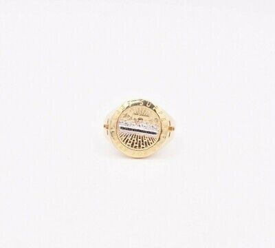 Mens Round Last Supper Cross Ring Real Solid 10K Yellow White Gold Size 10