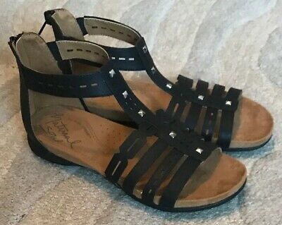 c9dfcf4fd154 Natural Soul Antigua Women s 8 W Wide Black Flat Gladiator Strappy Sandal   59.99
