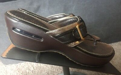 8f1cfe70c7820 COLE HAAN NikeAir Bronze Brown Leather Platform Wedge Thong Sandals Size 7