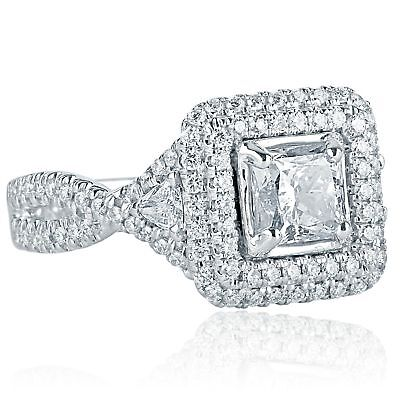 9f8f3f09a 2 Carat Princess Cut Trillion Side Diamond Engagement Halo Ring 18k White  Gold