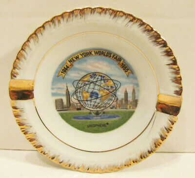 Nywf 1964-65 New York World's Fair Unisphere Souvenir Ceramic Ashtray Japan