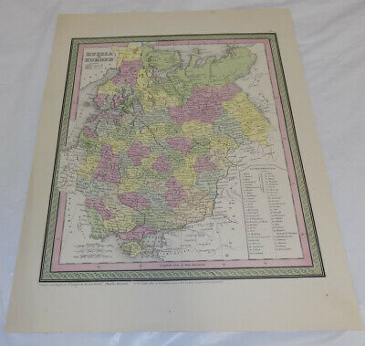 1856 Antique COLOR Map///RUSSIA IN EUROPE, published by Charles Desilver///b