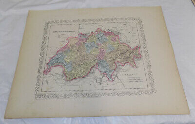 1856 Antique COLOR Map///SWITZERLAND, published by Charles Desilver
