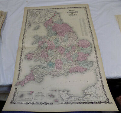 1860 Antique COLOR Map///ENGLAND AND WALES