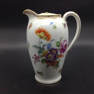 Dresden Germany Coffee Chocolate Pot Flowers Porcelain Vintage Antique Pitcher
