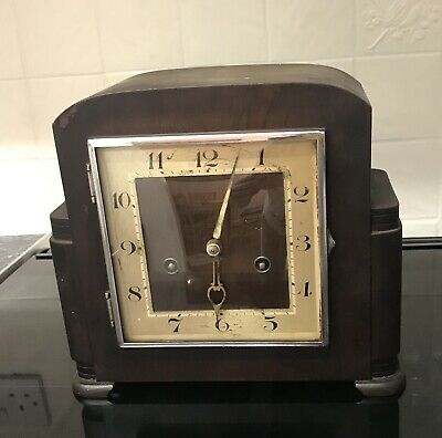Vintage Wooden Hac Crossed Arrows Mantle Clock   ++Working Order++