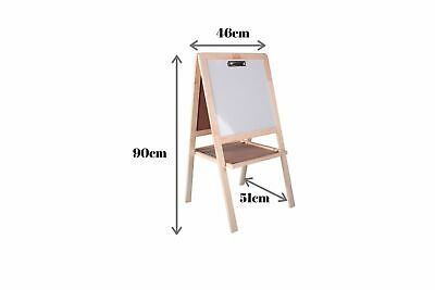 Junior 3-in-1 Easel Kids Art Easel Blackboard & Whiteboard With Stationery