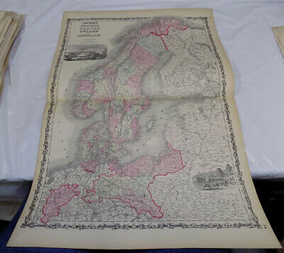 1860 Antique COLOR Map///PRUSSIA, NORWAY, SWEDEN, DENMARK, published by Johnson