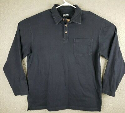 DULUTH Trading Co Mens L  Blue LONGTAIL Long Sleeve Polo Shirt 100% Cotton
