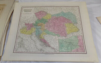 1843 Antique COLOR Map///AUSTRIAN EMPIRE, published by Tanner