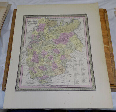 c1850 Antique COLOR Map///RUSSIA IN EUROPE, published by Cowperthwait