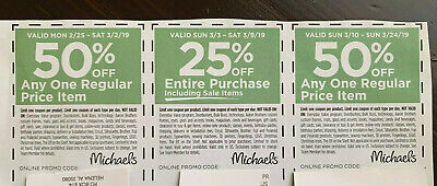 Michalel's Coupons See Dates for Validation ------ 3 Coupons  February - March