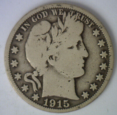 1915 Barber Half Dollar Silver Type Coin Fifty Cent 50 Cents Good Philadelphia