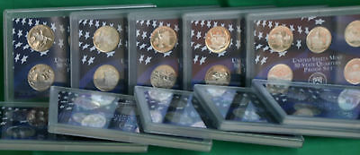 10 PROOF State Quarter Sets 1999 to 2008 US Mint 50 Coin Statehood Lot NO BOXES
