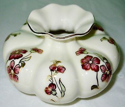 Zsolnay Porcelain Hand Painted Squatty Vase Hungary Vintage MINT
