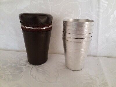 Vintage Retro Aluminum Cups With Case Set of Six