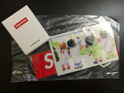 NEW Supreme SHOWER CAP and Sticker Box Logo Week 2 Gift In Hand