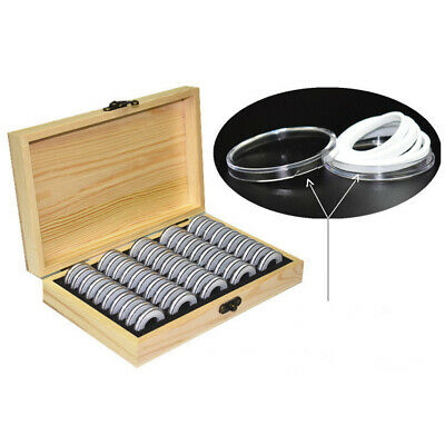 Wooden Coins Storage Container Collection Box Case + 50 Round Capsules Holder