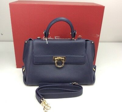 482d30ace5 Salvatore Ferragamo Sofia 21F608 Mirto Handbag Purse Bag Pebbled Leather  Satchel