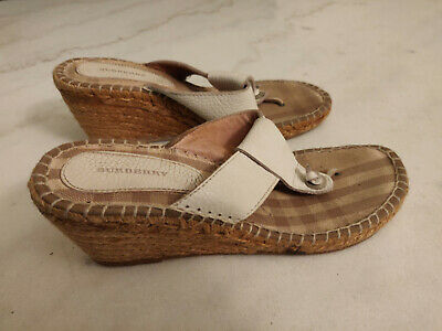 2671e1850bd3 Burberry Womens Espadrille Sandal Thong Size 39 US 6.5 White Leather Nova  Wedge