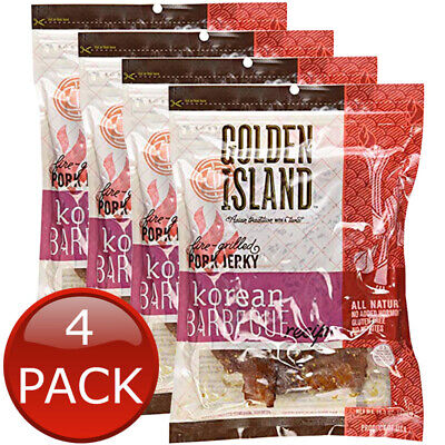 4 x GOLDEN ISLAND KOREAN BBQ PORK JERKY GRILLED READY TO EAT HEALTHY SNACK 410g