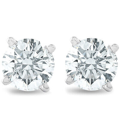.75Ct Round Brilliant Cut Natural Diamond Stud Earrings In 14K Gold