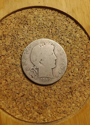 "1909 P 50C Barber Half Dollar Circulated  90 % Silver  BH265 Old ""TUCK"""