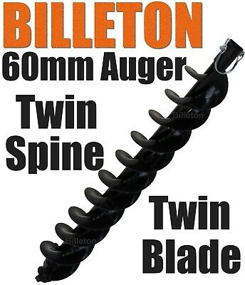 60mm Billeton Post Hole Digger Earth Auger Ground Drill Twin Blades Twin Spine