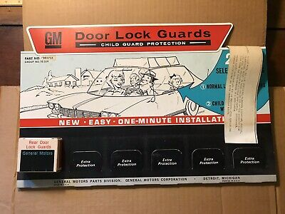 NOS GM Rear Door Lock Guards Child Guard Protection Advertising Kit - 6 #981711