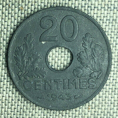 "France 20 Centimes, 1943 ""Thick Flan"" - 03942"