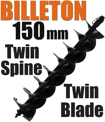 150mm Billeton Post Hole Digger Earth Auger Ground Drill Twin Blades Twin Spine