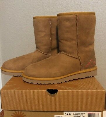 7d629b929bc WOMEN'S UGG CLASSIC Short Rustic Weave Boots, Chestnut Size 6 Style 1009266