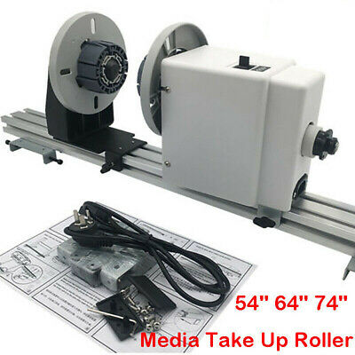 New Upgraded 54'' 64'' 74'' Auto Media Take up Reel System Paper Pickup Roller