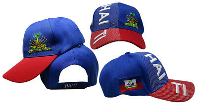 Haiti Country Letters Emblem Royal Blue Red Bill 3D Embroidered Cap Hat