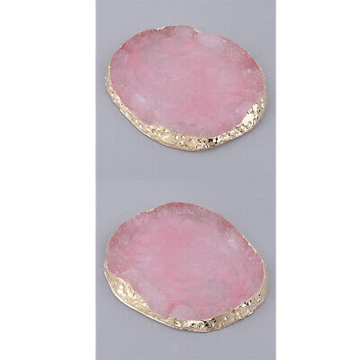 2x Gold Edge Imitation Agate Palette Display Pad Coaster Mat Ornament Pink