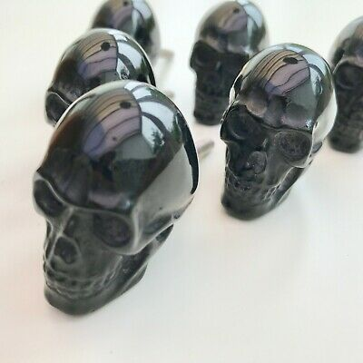 1 x  BLACK RESIN SKULL  DOOR/DRAWER KNOB HANDLE PULL Kitchen Home Bedroom