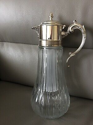 VTG Crystal Carafe Pitcher Decanter Silverplate Top Ice Chiller Incert Italy