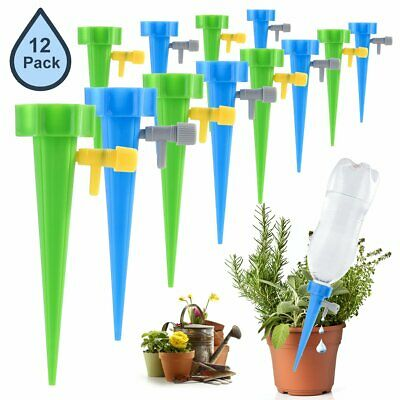 12x Automatic Garden Cone Bottle Irrigation Watering Spike Plant Flower Waterers
