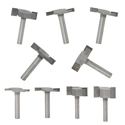 9Pcs 1/4 Woodworking Double Flute T Slot Slotting Router Bit Cutting Tools