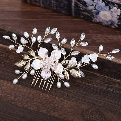 Wedding Flower Hair Pins Bridesmaid Crystal Diamante Pearls Bridal Clips Comb