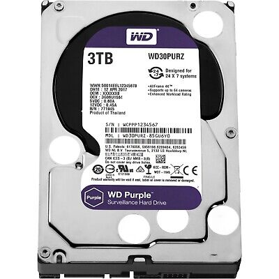 "Western Digital Wd Purple 3Tb 3.5"" Sata Internal Cctv Hard Drive Hdd 5400Rpm"