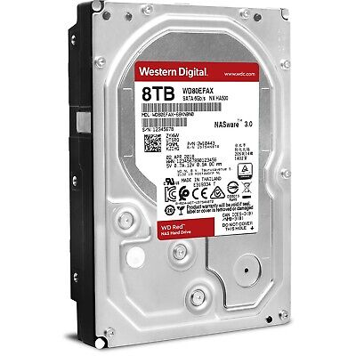"Western Digital Wd Red 8Tb 3.5"" Sata Internal Nas Hard Drive Hdd 5400Rpm 256Mb"
