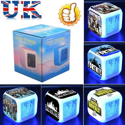 FORTNITE GAME Figures Color Changing Night Light Alarm Clock Kids Toy Gift  UK