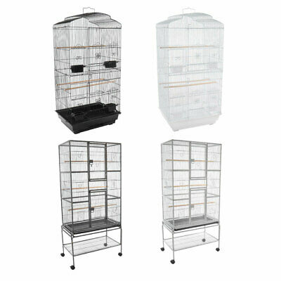 METAL PARROT/BIRD CAGE WHITE/BLACK 2 SIZES AVIARY CANARY BUDGIE COCKATIEL Wido