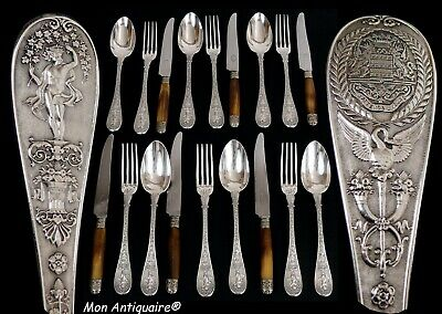 ANTIQUE FRENCH STERLING SILVER DINNER FLATWARE SET NAPOLEON EMPIRE ARMORIAL 19th